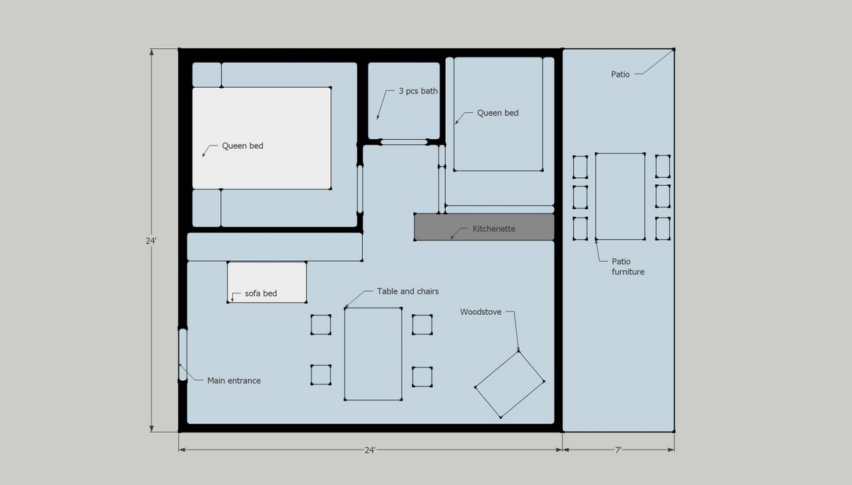Cottage floor plan resort for sale ontario canada for Canadian cottage house plans
