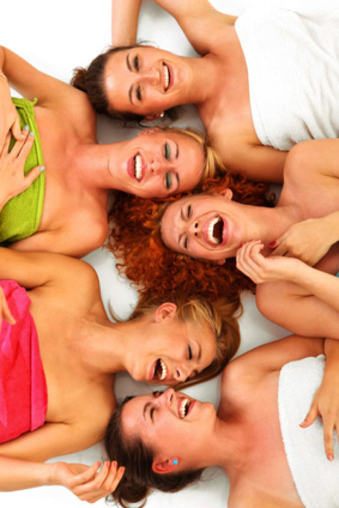 Happy girls after the sauna. This is a stock photo. That particular girls are never been visited us. But that picture gives the true idea of the happiness of sauna treatment.