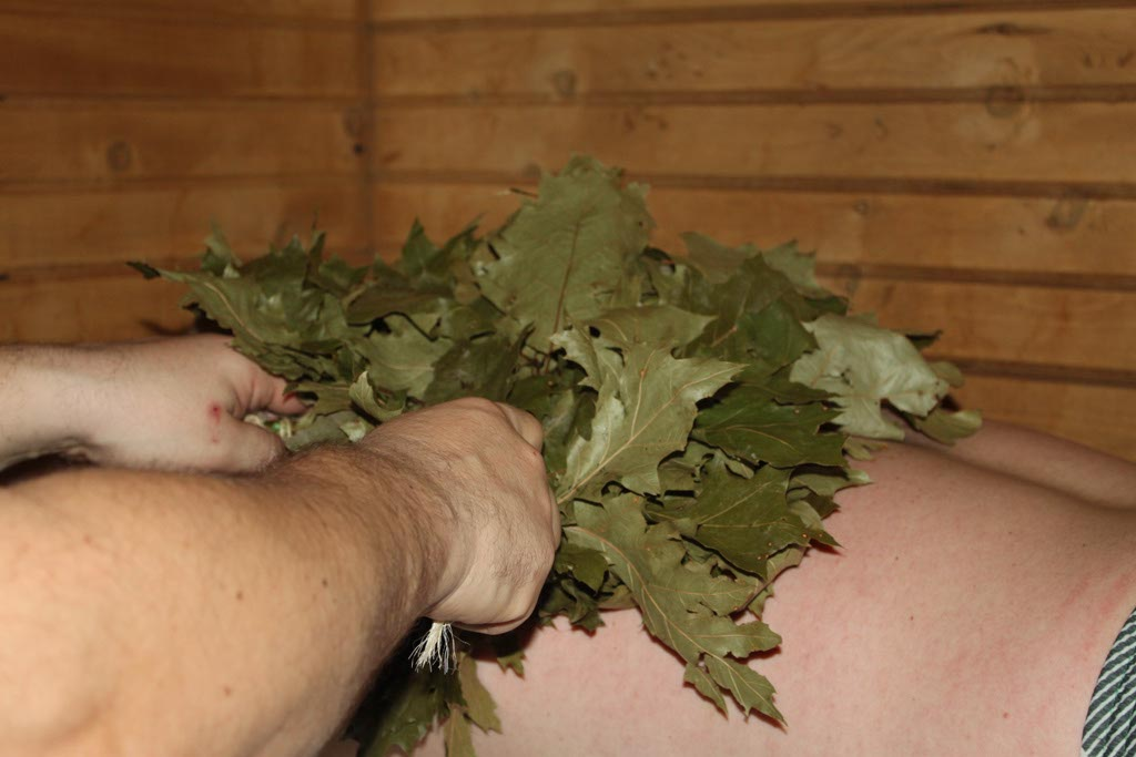 Hot Leaves Treatment in the sauna.