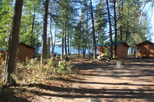 Small waterfront cabins at our campground.